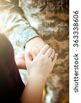 married military couple holding ... | Shutterstock . vector #363338606