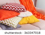 Colorful Pillows On Sofa Close...