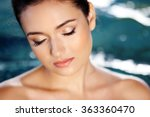 beautiful young woman at... | Shutterstock . vector #363360470