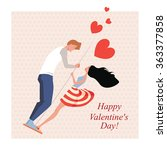 lovers on a swing  greeting... | Shutterstock .eps vector #363377858