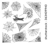 spider web set  vector... | Shutterstock .eps vector #363409940