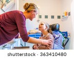disabled child in a wheelchair... | Shutterstock . vector #363410480