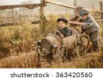 two young children ride in the... | Shutterstock . vector #363420560