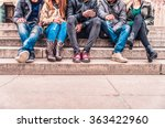 group of people sitting on a... | Shutterstock . vector #363422960