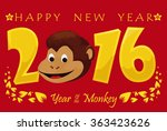 playful monkey face in greeting ... | Shutterstock .eps vector #363423626