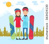 couple snowboarding together.... | Shutterstock .eps vector #363424130