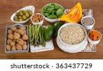 foods high in vitamin e on ... | Shutterstock . vector #363437729