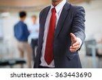 businessman offering a... | Shutterstock . vector #363443690