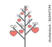 hearts on the tree vector... | Shutterstock .eps vector #363447194