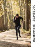 runner man running on road... | Shutterstock . vector #363458090