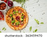 delicious italian pizza served... | Shutterstock . vector #363459470