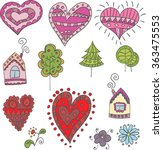 collection of doodle hearts ... | Shutterstock .eps vector #363475553