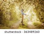 little boy reaches for a bird... | Shutterstock . vector #363489260