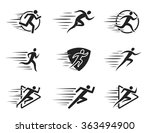 running man icons with motion... | Shutterstock .eps vector #363494900
