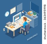 work space isometric flat style.... | Shutterstock .eps vector #363495998