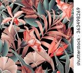 seamless tropical flower  plant ... | Shutterstock . vector #363498269