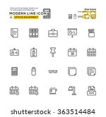 outline icon set of office...