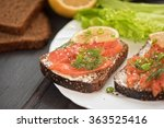 sandwich with salmon for... | Shutterstock . vector #363525416