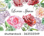 floral card with roses.... | Shutterstock . vector #363533549