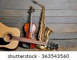 musical instruments on wooden... | Shutterstock . vector #363543560