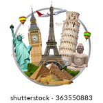 famous monuments of the world... | Shutterstock . vector #363550883