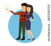 cute happy couple embracing.... | Shutterstock .eps vector #363556310