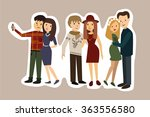 cute happy couple embracing.... | Shutterstock .eps vector #363556580