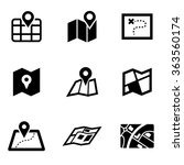 vector black map icon set. | Shutterstock .eps vector #363560174