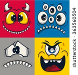 Monster Faces Vector Set