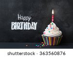 birthday cupcake in front of a... | Shutterstock . vector #363560876