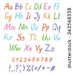 crayon child's drawing alphabet.... | Shutterstock .eps vector #363568358