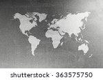 world map on sheet of zinked... | Shutterstock . vector #363575750