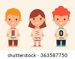 cute cartoon kids holding... | Shutterstock .eps vector #363587750