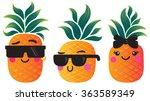 cute cartoon pineapples. vector ... | Shutterstock .eps vector #363589349