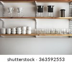 wooden shelves on white blank... | Shutterstock . vector #363592553