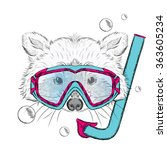 raccoon in a mask for diving.... | Shutterstock .eps vector #363605234