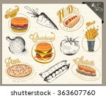retro vintage style fast food... | Shutterstock .eps vector #363607760