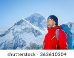 Hiking in Himalaya mountains. Face to face with mount Everest, Earth