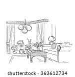 modern interior room sketch. | Shutterstock .eps vector #363612734