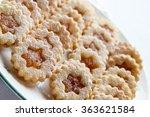 linzer shortbread cookies with... | Shutterstock . vector #363621584