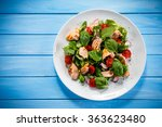 fish salad   grilled salmon and ...   Shutterstock . vector #363623480