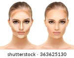 Contouring.make Up Woman Face....