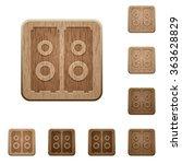 set of carved wooden speakers...