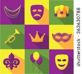 mardi gras flat design icon... | Shutterstock .eps vector #363630788
