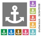 anchor flat icon set on color...