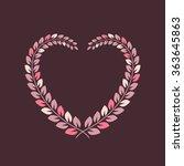 floral wreath in heart shape...   Shutterstock .eps vector #363645863
