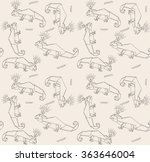 thin line lizards and crown.... | Shutterstock .eps vector #363646004