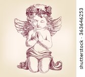 Angel Prays On His Knees Hand...