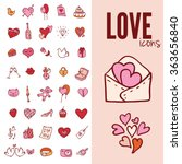 i love you doodle icon set... | Shutterstock .eps vector #363656840