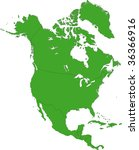 green north america map with... | Shutterstock .eps vector #36366916